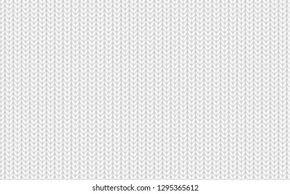 Seamless knitted background. Knitted cloth pattern. Endless knit texture for wallpapers and backgrounds. Monochrome realistic knitwear pattern. Repetitive wool texture. Vector seamless pattern
