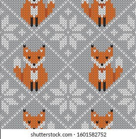 Seamless knitted holiday pattern with snowflakes and foxes. Happy New Year, merry Christmas and winter concept