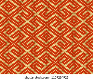 Seamless knitted Old Russian national woolen pattern. Design Orange Labyrinth