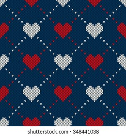 Seamless Knitted Pattern with Hearts. Valentine's Day Background