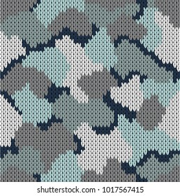 Seamless knitted pattern khaki. Woolen knitted texture. Vector illustration