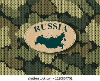 Seamless knitted pattern with map Russia on the leather label. Military camouflage background. Vector lettering illustration for fashion textile, fabric or wallpaper. EPS 10