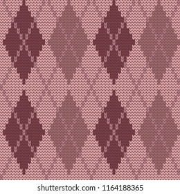 Seamless knitted pattern with rhombuses. Argyle print. Checkered background in pink colors. Vector illustration