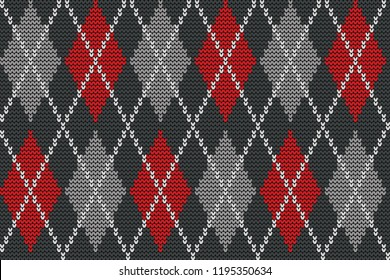 Seamless knitted pattern with rhombuses. Argyle print in gray and red colors. Checkered background. Vector illustration