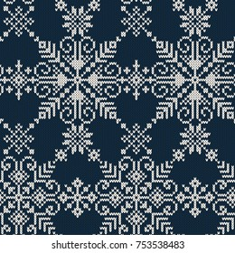 Seamless knitted pattern of white snowflakes on a blue background.Vector