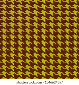 Seamless knitted woolen pattern Houndstooth. Yellow hounds tooth check