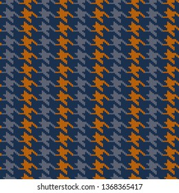 Seamless knitted woolen pattern Houndstooth. Vintage blue and orange hounds tooth check