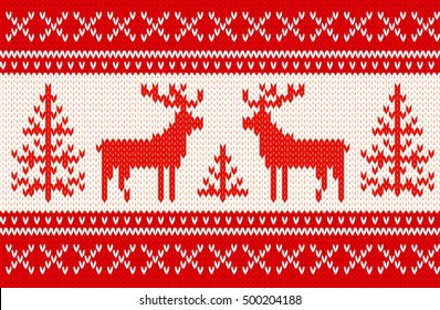Seamless knitting pattern with deers and geometrical ornamental stripes