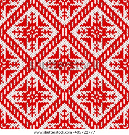 Seamless Knitting Pattern Snowflake Ornament Fair Stock Vector