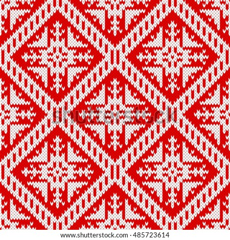 5301f31d2ce8e6 Seamless knitting pattern with snowflake ornament in the fair isle style.  Red and white Christmas knitted background. Winter holiday design. Vector  knitted ...