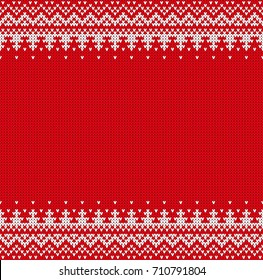 Seamless knitting pattern. Winter Holiday, New year 2018, Christmas sweater design. Texture with place for text.