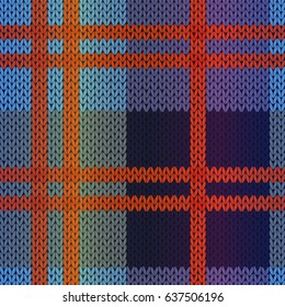 Seamless knitting vector pattern as a fabric texture mainly in red, blue and violet hues