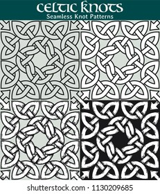 Seamless Knot Pattern. 4 different versions of a seamless pattern with Celtic knots: with white filling, without filling, with shadows and with a black background.