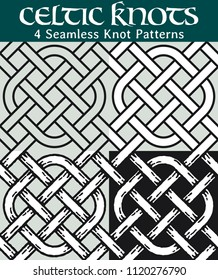 Seamless Knot Patterns. 4 different versions of a seamless pattern with Celtic knots: with white filling, without filling, with shadows and with a black background.