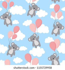 Seamless Koala Pattern Background, Happy cute koala flying in the sky between colorful balloons and clouds, Cartoon Koala Bears Vector illustration for Kids