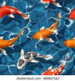 Seamless koi carps