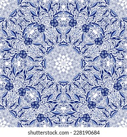 Seamless lace background with flowers and leaves in blue tones of the circular ornaments. Pattern in the style of Chinese painting on porcelain. Vector illustration