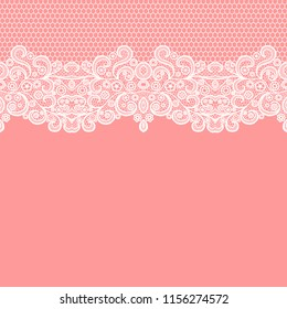 349456cb1a Seamless lace border. Vector illustration. White lacy vintage elegant trim.
