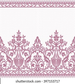 Seamless lace pattern, flower vintage vector background.