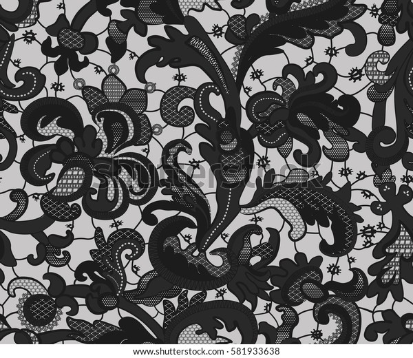 seamless lace pattern with flowers. Black