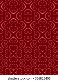 Seamless lace pattern of heart signs. Vintage, curled, swirl texture. Twist floral ornament of laurel leaves. Light red figure on dark red background. Love, birthday, Valentine day, sale. Vector