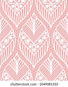 Seamless lace pattern made of abstarct ethnic ornamental leaves on pink background