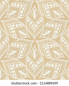 Seamless lace pattern made of abstarct ethnic ornamental leaves on beige background