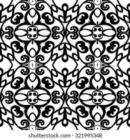 Seamless lace pattern on white background, vector illustration