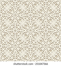 Seamless lace pattern, vector knitted or crochet texture, handmade lacy background