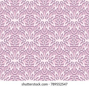 Seamless lace pattern, vector tulle texture with abstract floral ornament in light color