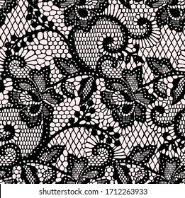 Seamless lace vector pattern. Lace pattern on pink background. Lace flowers design for fashion and interior textiles. Fashionable pattern for print rooms.
