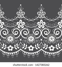 Seamless lace vector vector pattern, white retro ornamental repetitive design with flowers - greeting card, textile design. Ornametnal lace frame or border, vintage decoration with repetitive elements