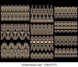 Seamless laced vector patterns, set of vector border ornaments, fretwork design on dark background