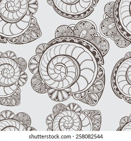 Seamless lacy pattern with shells and flowers. Vector background