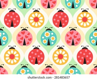 seamless ladybugs cartoon pattern