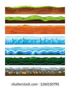 Seamless land horizontal layers set, geology and environment concept. Water and solid surface. Vector flat style cartoon illustration isolated on white background