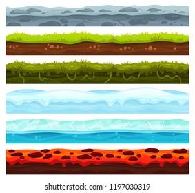 Seamless land layers. Dirt ground landscape game asset, ice with snow caps and lava floor. Cartoon surface grass soil texture, water and dirt rock road for games level vector assets set