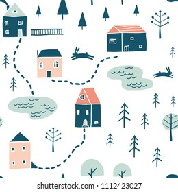 Seamless landscape pattern. Scandinavian simple minimalist houses, lakes and trees. Funny map texture. Cute stylized city. Hand drawn cartoon street illustration for children textile, fabric