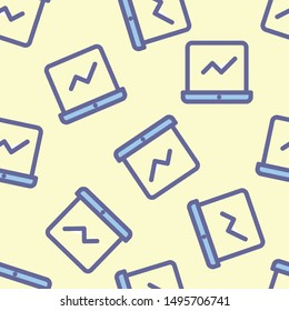 Seamless laptop icon pattern on moccasin background. Simple flat vector design with bright colors for wrapping paper or web.