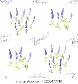 Seamless with lavender herbs hand lettering, lavender herbs. Vector watercolor vintage sketch. Pattern or card design. Botanical colorful illustration on white background.