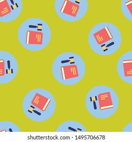 Seamless law icon pattern on golden rod background. Simple flat vector design with bright colors for wrapping paper or web.