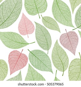 Seamless leaf pattern, green leaves background with red leaves in shape of heart. Vector illustration.