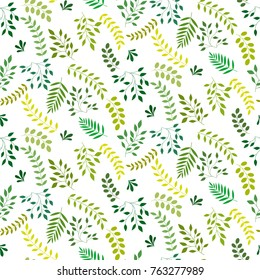 Seamless leaf pattern. Small green leaves on a white background for textiles, fabric, cotton fabric, cover, wallpaper, stamp, gift wrap, postcard.