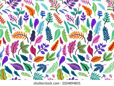 Seamless leaf pattern. Tropical pattern. White background. Cute pattern with leaf. Vector pattern with tropical plant. Summer background. Cute template for fashion prints.