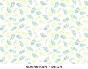Seamless leaf pattern. Tropical pattern. White background. Cute pattern with leaf.