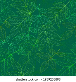 Seamless leafy background in green colors. Beautiful spring pattern with the image of the contours of the leaves. For printing on textiles, wallpaper, wrapping paper, postcards, banners, posters, etc.