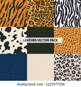 Seamless leather, fur textures pattern set. Luxury leather textures - print background. Animal safari skin. Vector illustration. Design element for your projects, fabrics, prints, wallpaper, wrapping