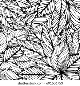 Seamless leaves background. Vector