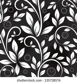 Seamless leaves monochrome vector pattern.