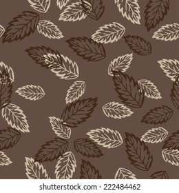 Seamless Leaves On A Brown Background